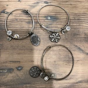 3 Silver Alex and Ani Bracelets Daughter Snowflake